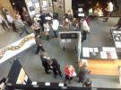 Overhead view of 2014 Art meets Science Exhibition with Therese Flynn-Clarke artwork on left