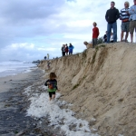 People looking at beach erosion by NCARF