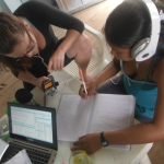 Researcher working with a participant to record an indigenous language